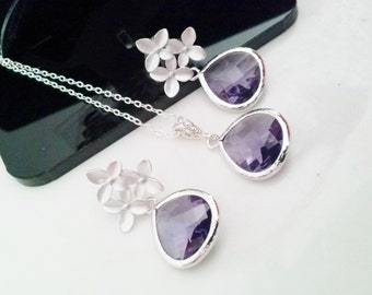 STERLING,bridal necklace set,bridal jewelry set,purple stone necklace,Amethyst necklace,bridesmaid jewelry set,cherry blossom jewelry set