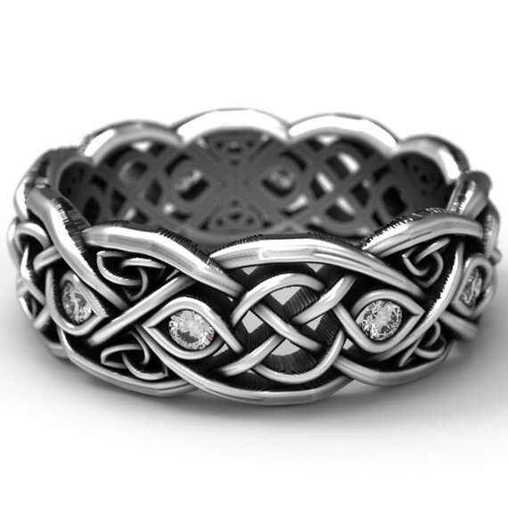 Infinity Wedding Band With Moissanites, 925 Sterling Silver Celtic Ring, Unique Wedding Ring, Celtic Wedding Band, Handcrafted Size CR1052