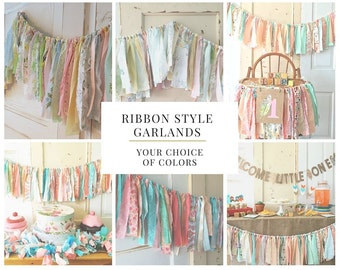 Baby Shower Backdrop.  Rag Style Fabric Garland Decor for Baby Shower. Boho Modern Style or CUSTOM color 4-10 Foot Ribbon Style Banner.