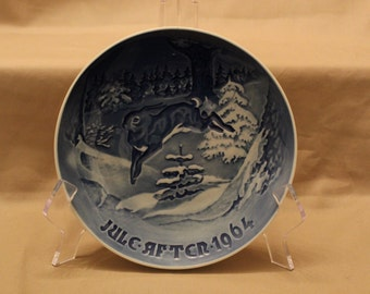 "Vintage B&G (Bing and Grondahl) Copenhagen Porcelain Plate titled ""Grantraeet  (The Fir Tree and the Hare)""  - Made in Denmark - 1964"
