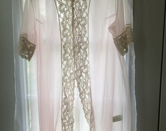 Chiffon and lace sheer robe