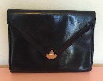Mark Cross Black Leather Envelope Clutch AND Shoulder Bag Gold Hardware
