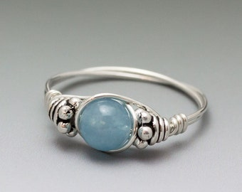 Blue Hemimorphite Bali Sterling Silver Wire Wrapped Gemstone Bead Ring - Made to Order, Ships Fast!
