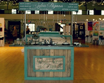 Trade Show Rustic custom table up and over sign - farmhouse furniture - portable for display booth