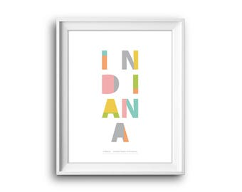 Indiana, United States of America,Indiana poster,Printable,Instant Download, Indiana,Indiana Gift,Indiana print,50 States USA,USA print