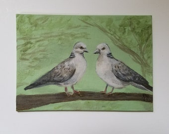 Two Turtle Doves - Acrylic Painting - Original Art - Small art