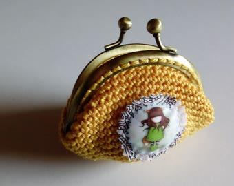 Yellow crochet purse