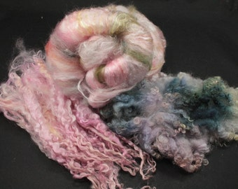 Hand carded batt with mulberry silk, angora, wensleydale locks, fiber for spinning and felting, 3.3 oz batt, 1.5 oz locks
