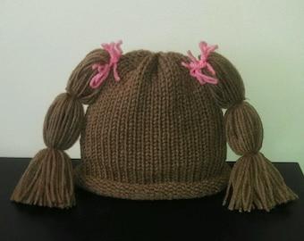 Cabbage Patch Hat Brown Wig Knit newborn crochet outfit baby girl knit baby girl crochet pig tail hat