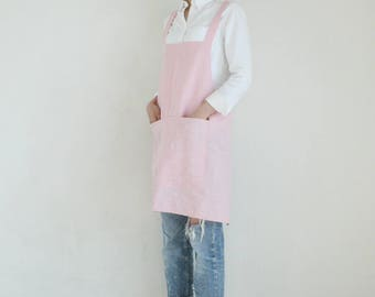 Linen no-ties apron,Dusty pink