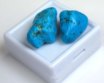 60.95 Ct Natural Arizona Mine Kingman Turquoise Gemstone Rough Pair Best Deal