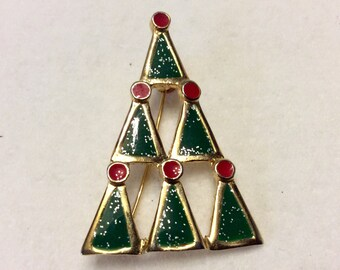 Designer signed Ali Christmas tree brooch pin. Free ship to US.