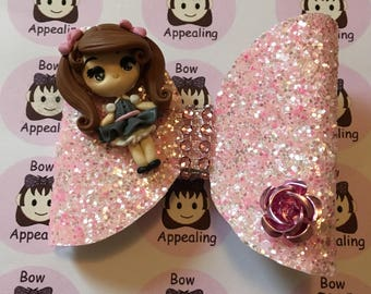 Schoolgirl pink glitter bow, ideal for girls, ideal for parties or dress up
