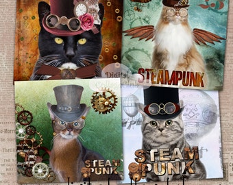 Steampunk Cat Digital Coaster 4 x 4 inches Large Images for Card Making, Journaling, Decoupage, ATC, Digital Collage Sheet