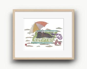 French Bulldog Art, Brindle French Bulldog, French Bulldog Gift, Frenchie, 14 x 11
