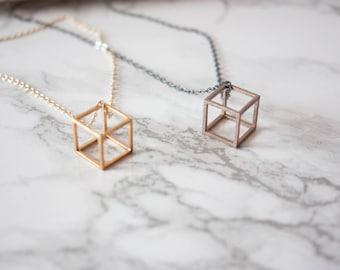 Kube Pendant // Geometric Jewelry / Minimalist Jewelry / Geometric Necklace / Brass Pendant / Stainless Steel Jewelry