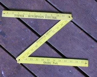 Vintage YARDSTICK, YELLOW, ADVERTISING, Quality Pork, shabby decor, measuring tool, wood,
