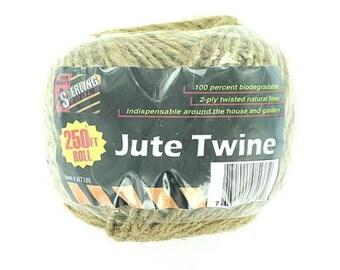 Natural Fiber Jute Twine - 250' Ft Roll
