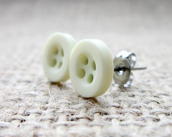 8mm cream button stainless steel stud earrings - low allergy posts studs