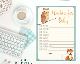 WOODLAND Baby Shower Wishes for baby // Woodland Baby shower game printable wishes for baby / Fox Deer Owl baby shower wishes for baby game