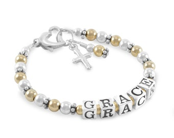 Baby Baptism Bracelet, Gold and Silver Name Bracelet, Personalized Girl jewelry, cross charm, christening, niece, first communion, GRACE