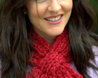 Scarf Knitting Pattern: Women's Looped Scarflette (PDF DOWNLOAD)