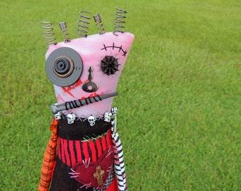 Halloween Zombie Monster Art Doll, OOAK Original Design, Textile Mixed Media Art Doll, Hand Printed Painted Drawn Fabric, Creepy Cute Skulls