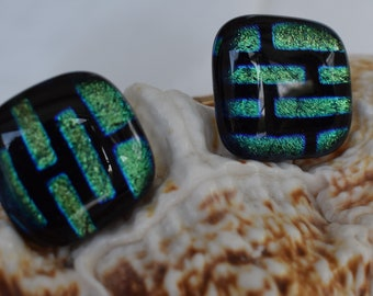 Square Cuff links Geometric design cufflinks Fused Glass Cufflinks