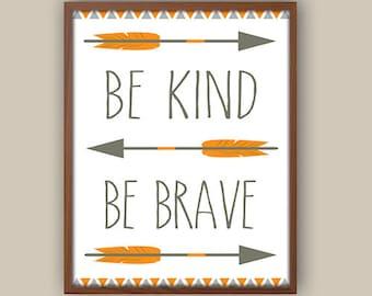Baby Boy Nursery Art - Tribal Nursery Art - Tribal Pattern - Be Brave Quote - Orange And Gray Nursery - Kids Tribal Arrows