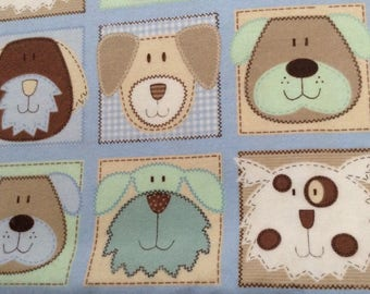 Flannel/funny dog faces on blue and green background cotton fabric by the yard