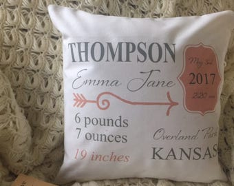 Birth Announcement decorative throw pillow cover. birth info. pillow, personalized baby girl pillow