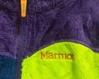 Vintage colorblock marmot fleece sweater/hiking/colourful/hiphop