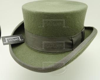 Vintage x Trendy Wool Felt Formal Tuxedo Coachman Topper Top Hat - Grey