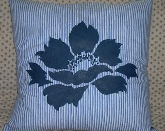 Blue Peony Pillow