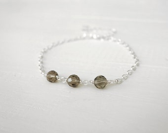 Minimalist bracelet grey bead bracelet dainty chain bracelet layering bracelet for women