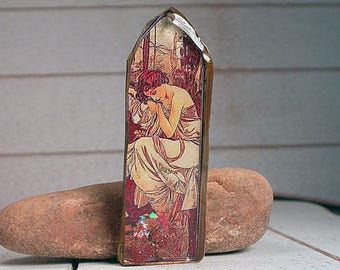 Resin Focal Bead, Resin Pendant, Rustic Mixed Media Mucha Times of the Day Series, Divine Spark Designs, SRA
