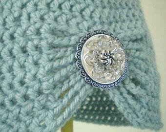 Flapper Girl Cloche Hat in Powder Blue - choose your own brooch - winter hats for women - winter hats for girls - crochet flapper hats