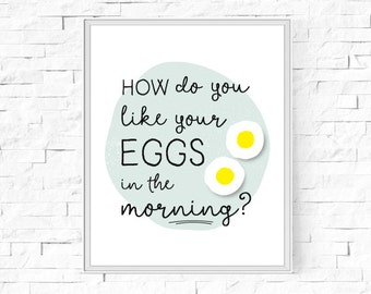"""Printable How Do You Like Your Eggs In The Morning? Print - Instant Download - Kitchen Print - Printable Wall Art - 8""""x10"""" and A4."""