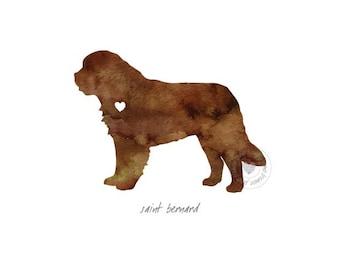 St. Bernard Dog Watercolor Painting Digital Art Print Silhouette Custom Wall Decor, Home, Office, Nursery, Room Decor