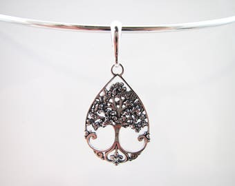 Sterling Silver Tree of Life Collar Pendant - For Skye Wire Designs Solid Wire Collars