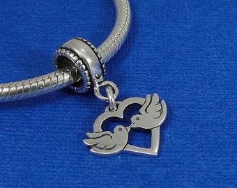 Love Birds European Dangle Bead Charm - Sterling Silver Kissing Doves Charm for European Bracelet