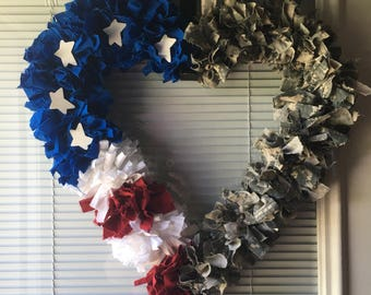 Patriotic Heart shaped wreath or wall hanging  red, white, blue and acu pattern