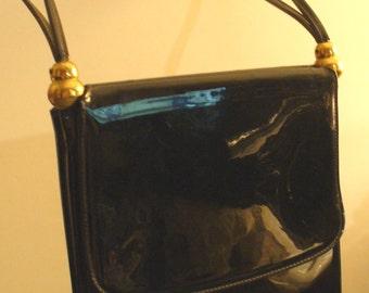 Vintage Patent Leather  Shoulder Bag Brass Detail