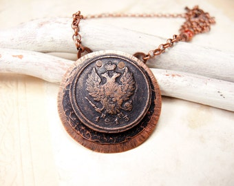 Copper Coin Necklace with antique coin 1813