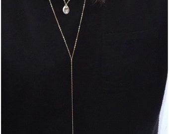 Lariat Necklace, Bar Necklace, Y Necklace, Y Gold Necklace, Dainty Minimal Necklace, Gold Bar Drop
