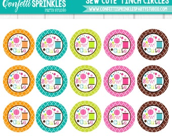 "INSTANT DOWNLOAD ""Sew Cute"" Sewing 4x6"" 1"" Inch Bottle Cap Image/Digital Collage Sheet"