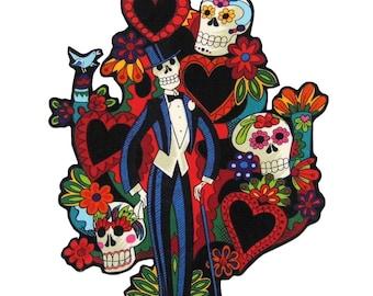 Baum des Lebens - Patches - T-Shirts - mexikanischen Volkskunst - Eisen auf Patch - Tag der Toten - Tasche - große - Kissen - Novio - Bräutigam - Schädel