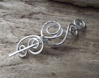 "Shawl Pin Scarf Pin- Aluminum Wire Hammered Brooch- Celtic Wire Wrap Winter Scarf Pin- Shawl Stick Pin Silver- ""Night Whisper"""