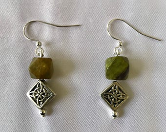 Celtic Green Serpentine and Silver Pewter Earrings