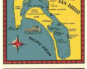 Vintage Style  San Diego California map Travel Decal sticker